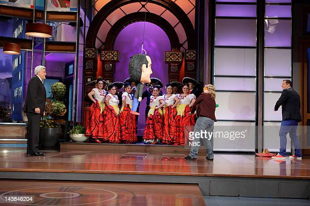 Host Jay Leno and a contestant during Cinco de Leno segment on May 4 2012