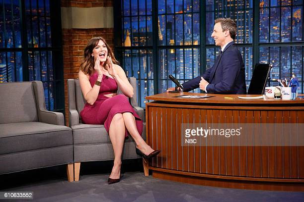 Actress Mandy Moore during an interview with host Seth Meyers on September 26 2016