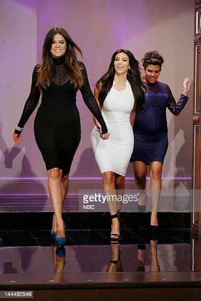 TV personalities Khloe Kardashian Kim Kardashian Kourtney Kardashian arrive on May 14 2012