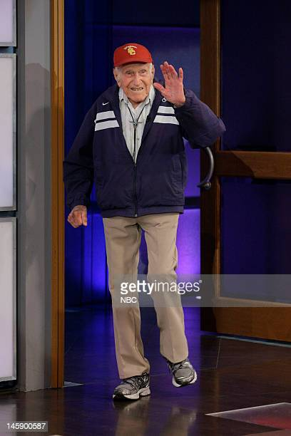 Episode 4265 -- Pictured: 95 year old war hero Louis Zamperini arrives on June 7, 2012 --