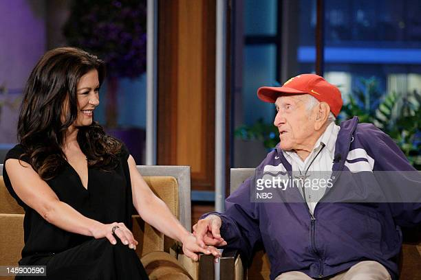 Episode 4265 -- Pictured: Actress Catherine Zeta-Jones and 95 year old war hero Louis Zamperini during an interview on June 7, 2012 --