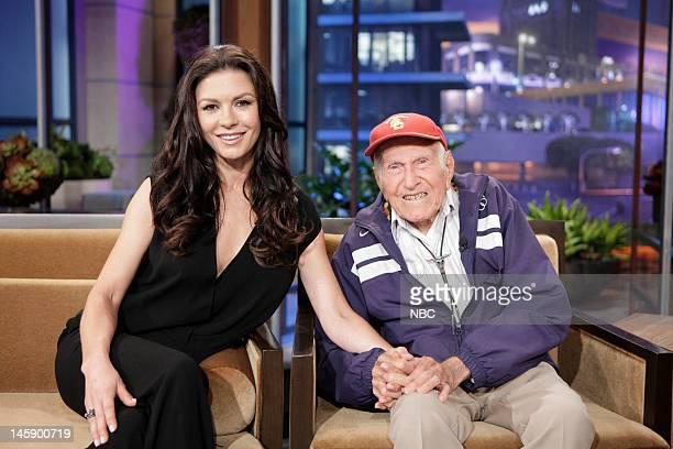 Episode 4265 -- Pictured: Actress Catherine Zeta-Jones and 95 year old war hero Louis Zamperini during a commercial break on June 7, 2012 --