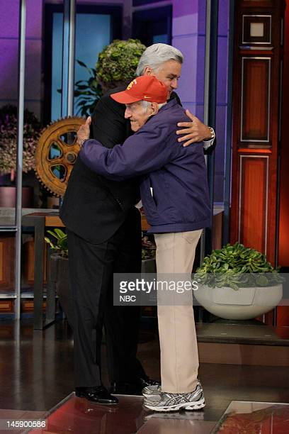 Episode 4265 -- Pictured: Host Jay Leno greets 95 year old war hero Louis Zamperini on June 7, 2012 --