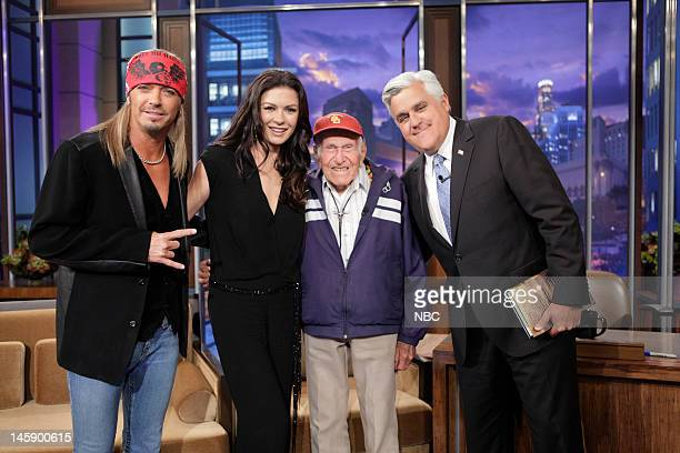 Musical guest Bret Michaels actress Catherine ZetaJones 95 year old war hero Louis Zamperini and host Jay Leno on June 7 2012