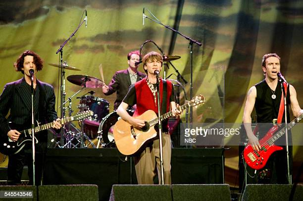 Musicians Mark Hart Paul Hester Neil Finn and Nick Seymour of musical guest Crowded House perform on March 24 1994