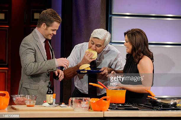 Actor Chris Pine host Jay Leno and cook Rachel Ray during a cooking segment on June 22 2012