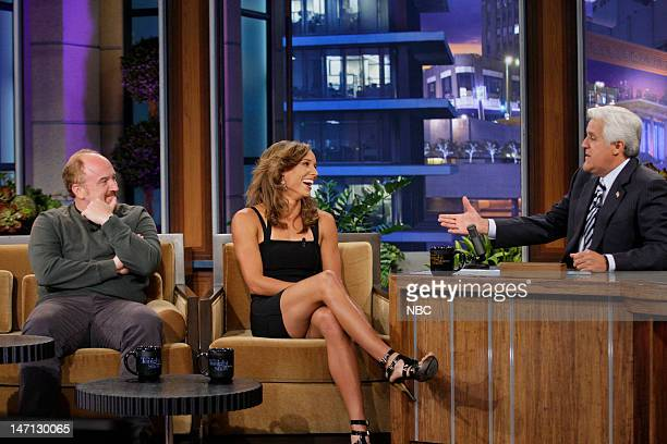 Episode 4277 -- Pictured: Comedian Louis Ck, Olympian Lolo Jones during an interview with host Jay Leno on June 25, 2012 --