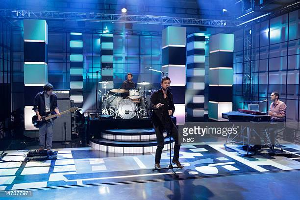 Jesse Quin Richard Hughes Tom Chaplin Tim RiceOxley of musical guest Keane perform on June 28 2012