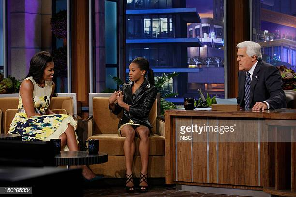 First Lady Michelle Obama Olympic Gymnast Gabrielle 'Gabby' Douglas during an interview with host Jay Leno on August 13 2012