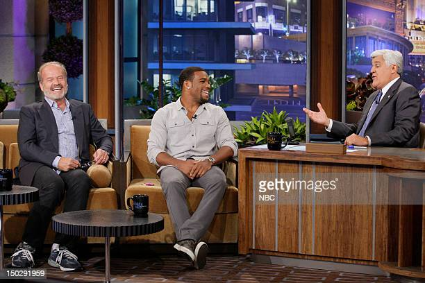 Episode 4298 -- Pictured: Actor Kelsey Grammer, Olympic wrestler Jordan Burroughs during an interview with host Jay Leno on August 14, 2012 --
