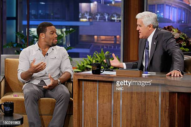 Episode 4298 -- Pictured: Olympic wrestler Jordan Burroughs during an interview with host Jay Leno on August 14, 2012 --
