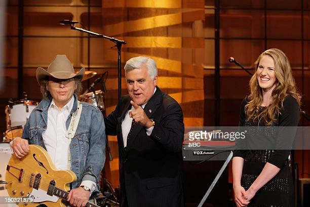 Episode 4299 -- Pictured: Musical guest Dwight Yoakam, host Jay Leno, Olympic Swimmer Missy Franklin on August 15, 2012 --