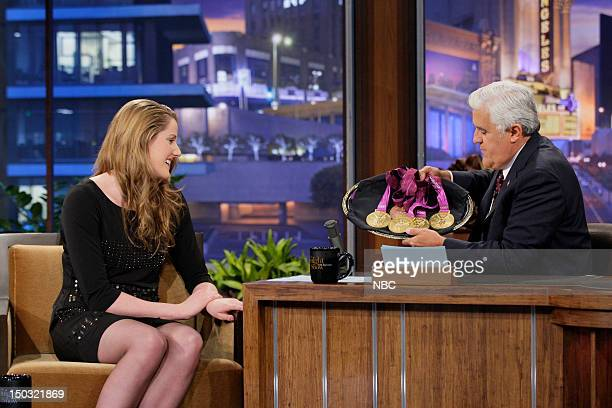 Episode 4299 -- Pictured: Olympic swimmer Missy Franklin during an interview with host Jay Leno on August 15, 2012 --