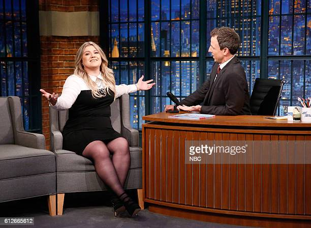 Musician Kelly Clarkson during an interview with host Seth Meyers on October 4 2016