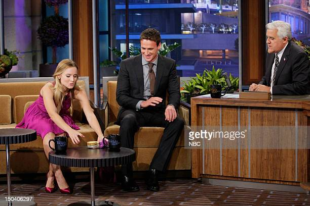 Episode 4300 -- Pictured: Actress Kristen Bell, Olympic swimmer Ryan Lochte during an interview with host Jay Leno on August 16, 2012 --