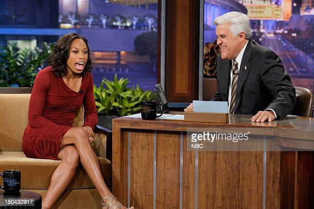 Episode 4301 -- Pictured: Olympic runner Allyson Felix during an interview with host Jay Leno on August 17, 2012 --