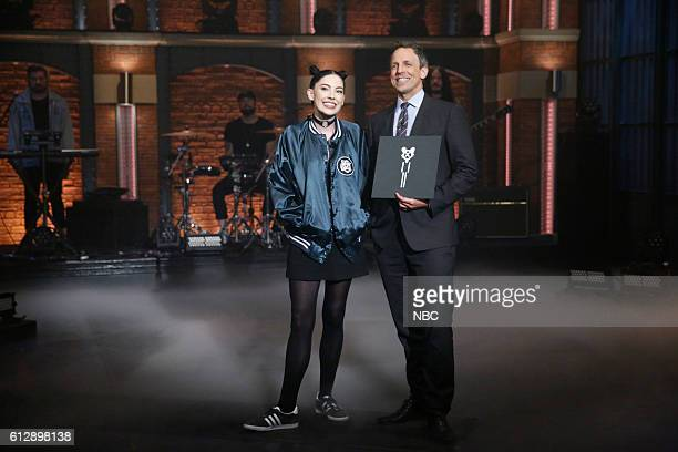 Musical guest Bishop Briggs and host Seth Meyers on October 5 2016