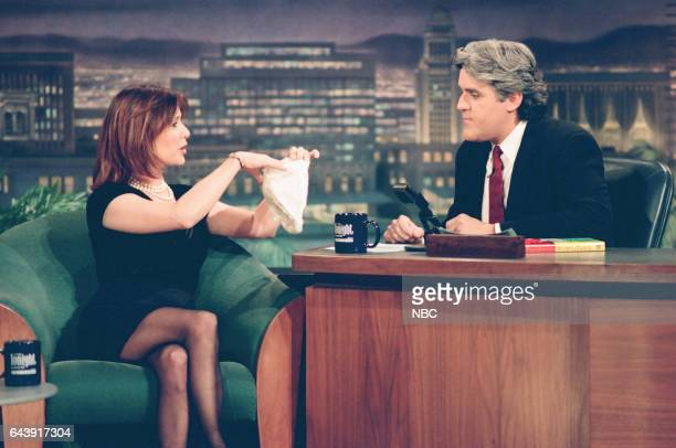 Actress Carrie Fisher during an interview with host Jay Leno on April 12 1994