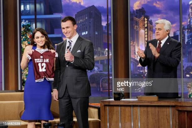 Episode 4374 -- Pictured: Actress Megan Fox, Heisman trophy winner Johnny Manziel during an interview with host Jay Leno on December 17 2012 --