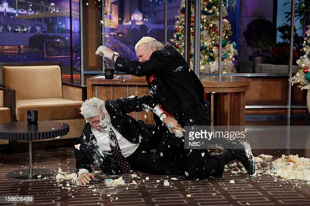 Host Jay Leno and Terry Bradshaw have a cake fight on December 21 2012