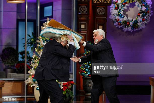 Terry Bradshaw and host Jay Leno have a cake fight on December 21 2012