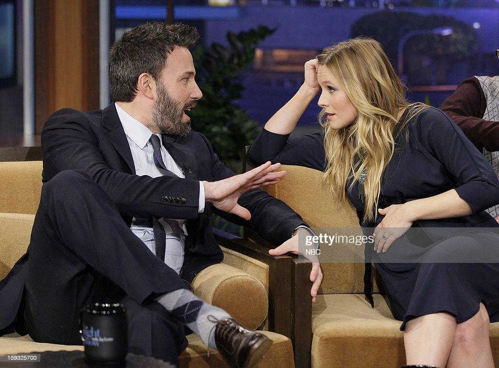 LENO -- (EXCLUSIVE COVERAGE) Episode 4386 -- Pictured: (l-r) Actor/director Ben Affleck talks with Actress Kristen Bell during a commercial break on January 11, 2013 --