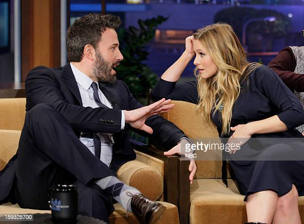 LENO Episode 4386 Pictured Actor/director Ben Affleck talks with Actress Kristen Bell during a commercial break on January 11 2013