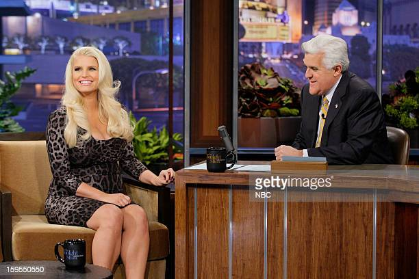 Actress Jessica Simpson during an interview with host Jay Leno on January 15 2013
