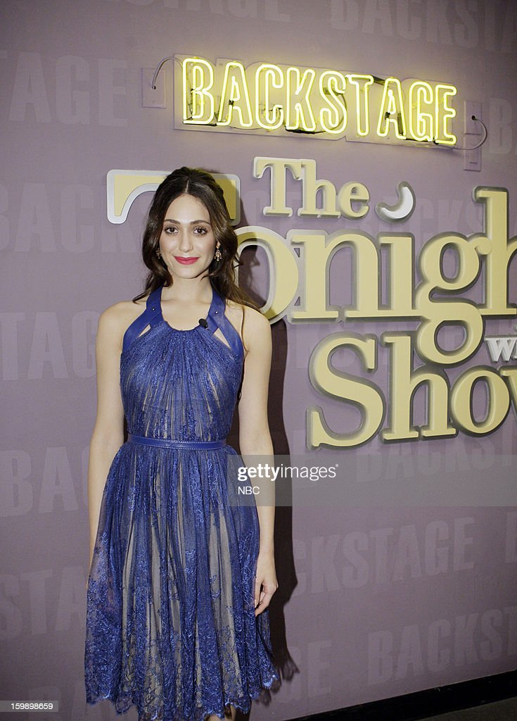 LENO -- (EXCLUSIVE COVERAGE) Episode 4392 -- Pictured: Actress Emmy Rossum backstage on January 22, 2013 --