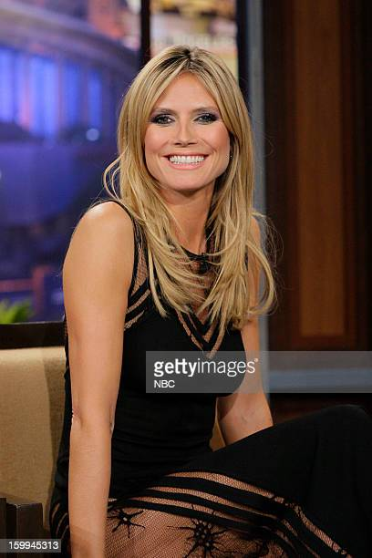 Supermodel Heidi Klum during an interview with host Jay Leno on January 23 2013