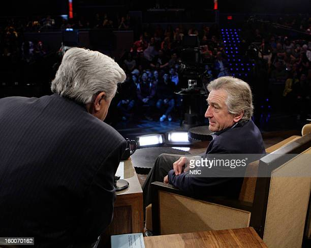 LENO Episode 4395 Pictured Host Jay Leno talks to actor Robert De Niro during a commercial break on January 25 2013