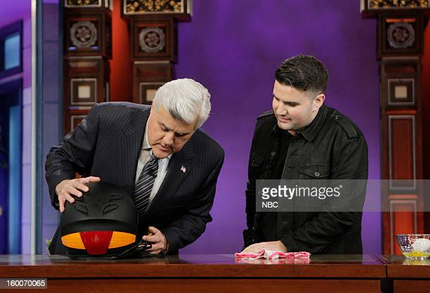 Host Jay Leno with Quirky CEO Ben Kaufman during a segment on January 25 2013