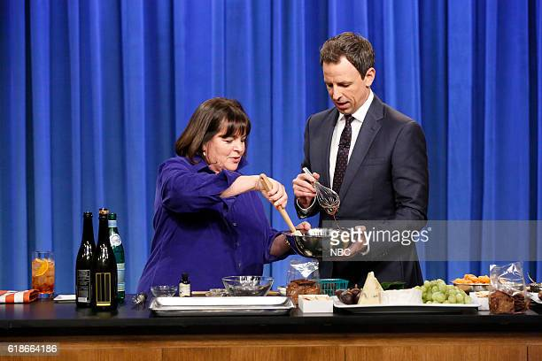 Ina Garten and host Seth Meyers during a cooking segment on October 27 2016