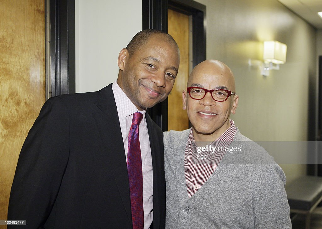 LENO -- (EXCLUSIVE COVERAGE) Episode 4400 -- Pictured: (l-r) Musical guest Branford Marsalis, bandleader Rickey Minor backstage on February 1, 2013 --