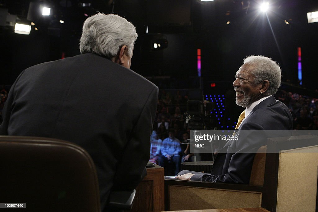 LENO -- (EXCLUSIVE COVERAGE) -- Episode 4426 -- Pictured: (l-r) Host Jay Leno talks with actor Morgan Freeman during a commercial break on March 18, 2013 --