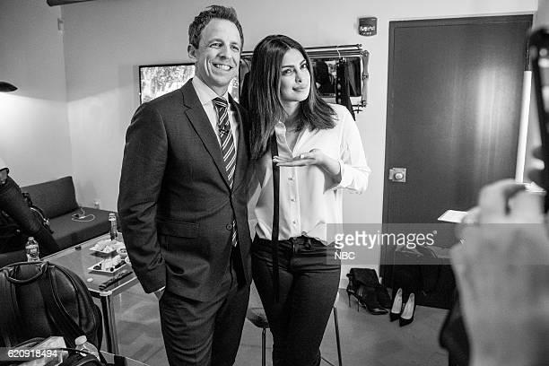 MEYERS Episode 443 Pictured Host Seth Meyers and actress Priyanka Chopra backstage on November 2 2016
