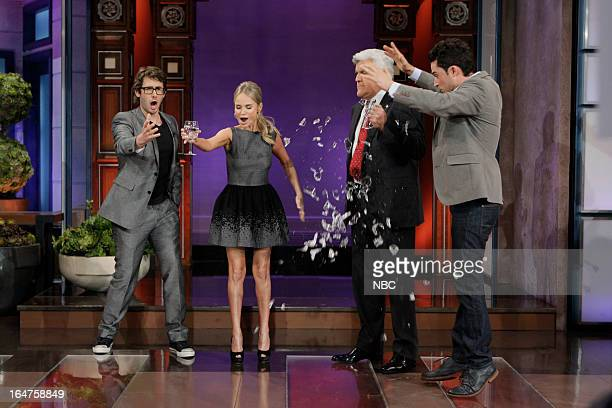Singer Josh Groban and Kristin Chenoweth try to break a glass by singing during a magic trick while Jay Leno and magician Justin Willman watch on...