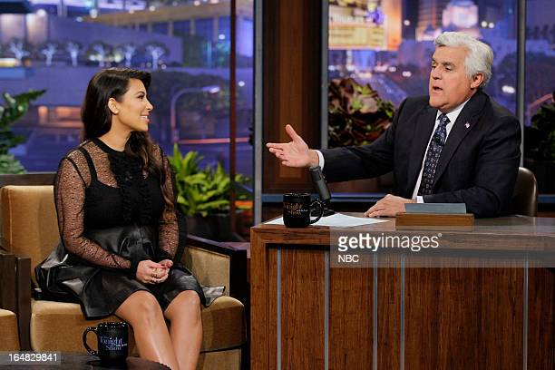 Episode 4434 -- Pictured: Kim Kardashian during an interview with host Jay Leno on March 28, 2013 --