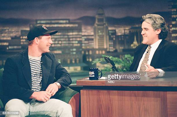 Baseball player Lenny Dykstra during an interview with host Jay Leno on April 25 1994
