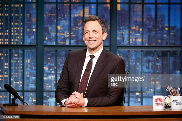 Host Seth Meyers at his desk on November 3 2016