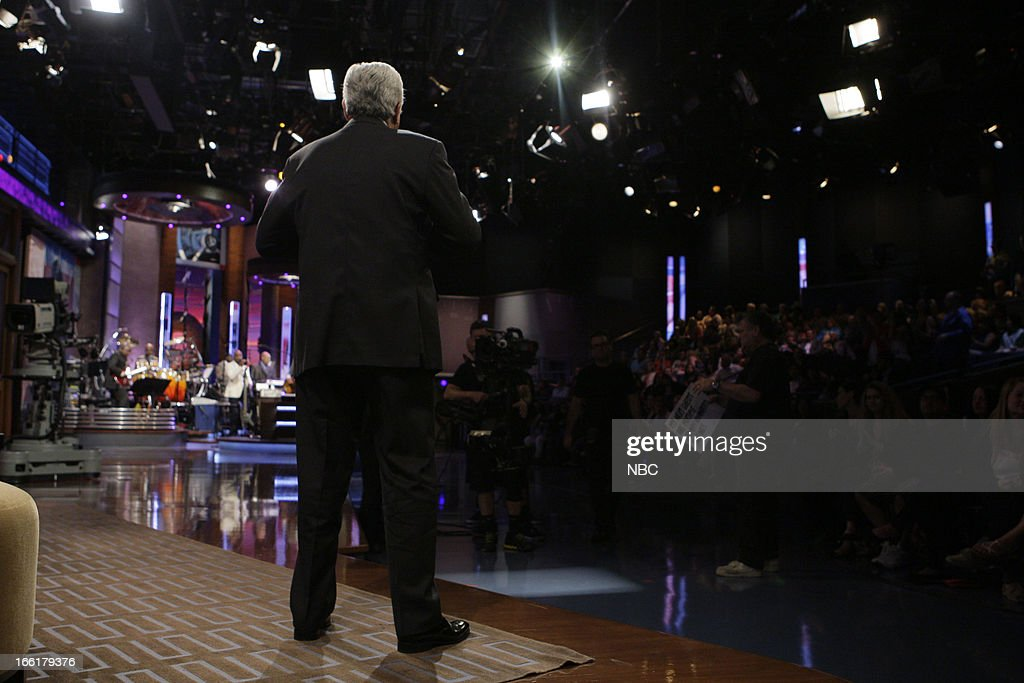 LENO -- (EXCLUSIVE COVERAGE) -- Episode 4441 -- Pictured: Host Jay Leno during a commercial break on April 9, 2013 --