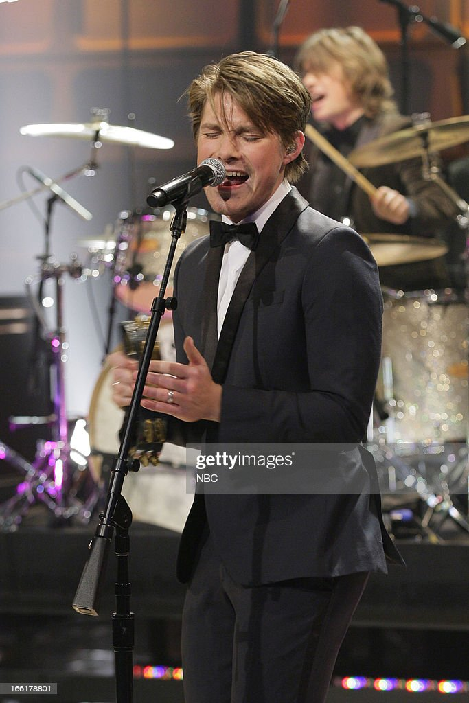 Taylor Hanson of musical guest Hanson performs on April 9, 2013 --