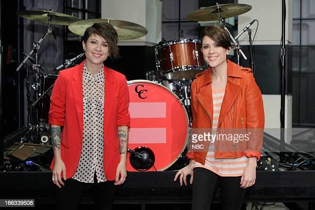 LENO Episode 4443 Pictured Tegan Quin and Sara Quin of Tegan and Sara on April 11 2013
