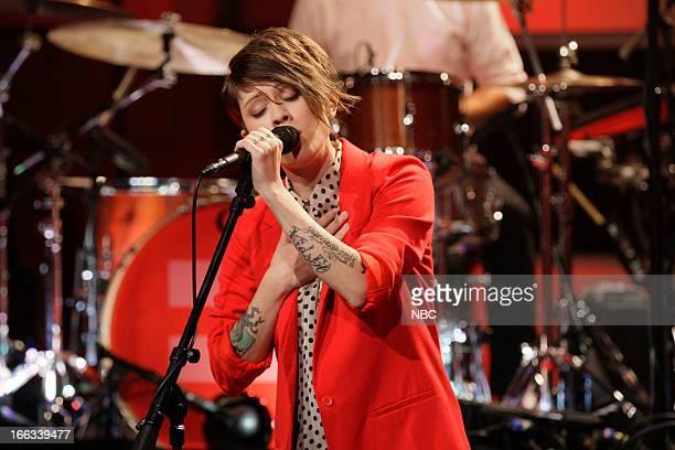 Tegan Quin of Tegan and Sara performs on April 11 2013
