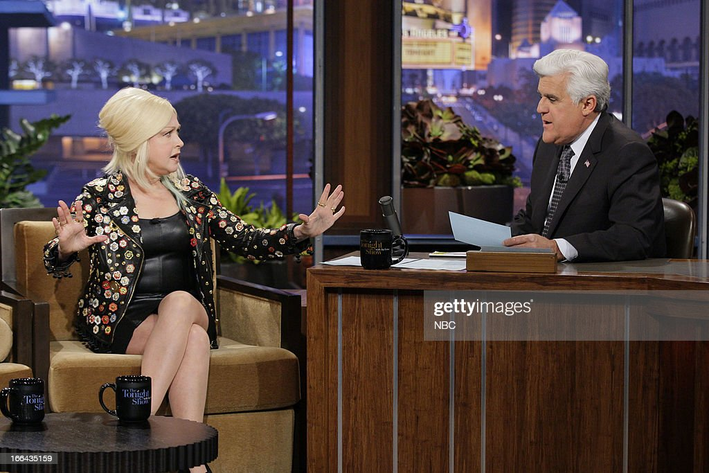 Cyndi Lauper during an interview with host Jay Leno on April 12, 2013 --