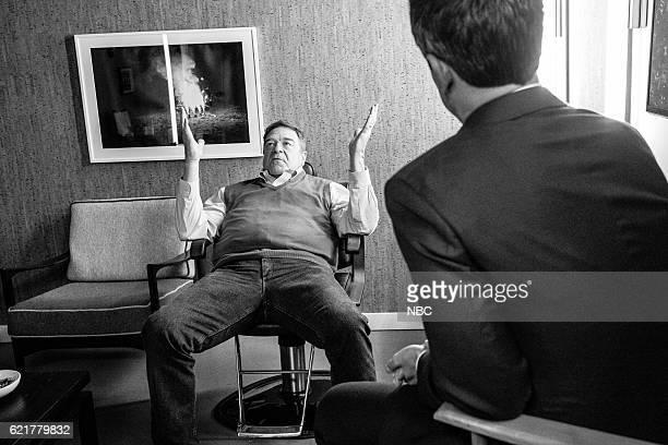 MEYERS Episode 445 Pictured Actor John Goodman talks with host Seth Meyers backstage on November 7 2016