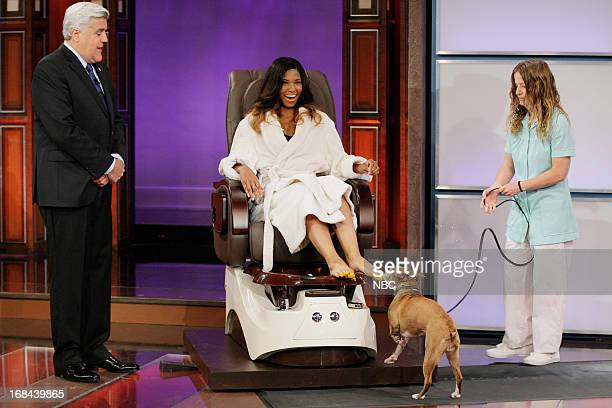 Host Jay Leno and model Nicole during a skit on May 9 2013
