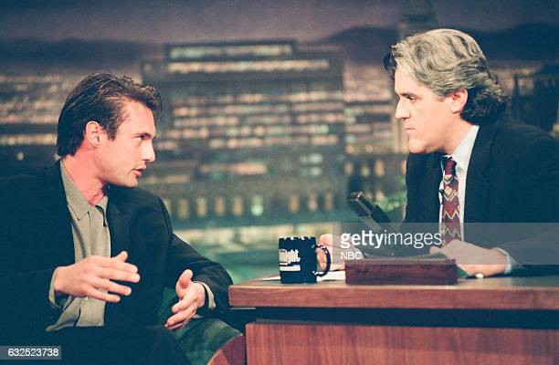Actor James Wilder during an interview with host Jay Leno on April 27 1994
