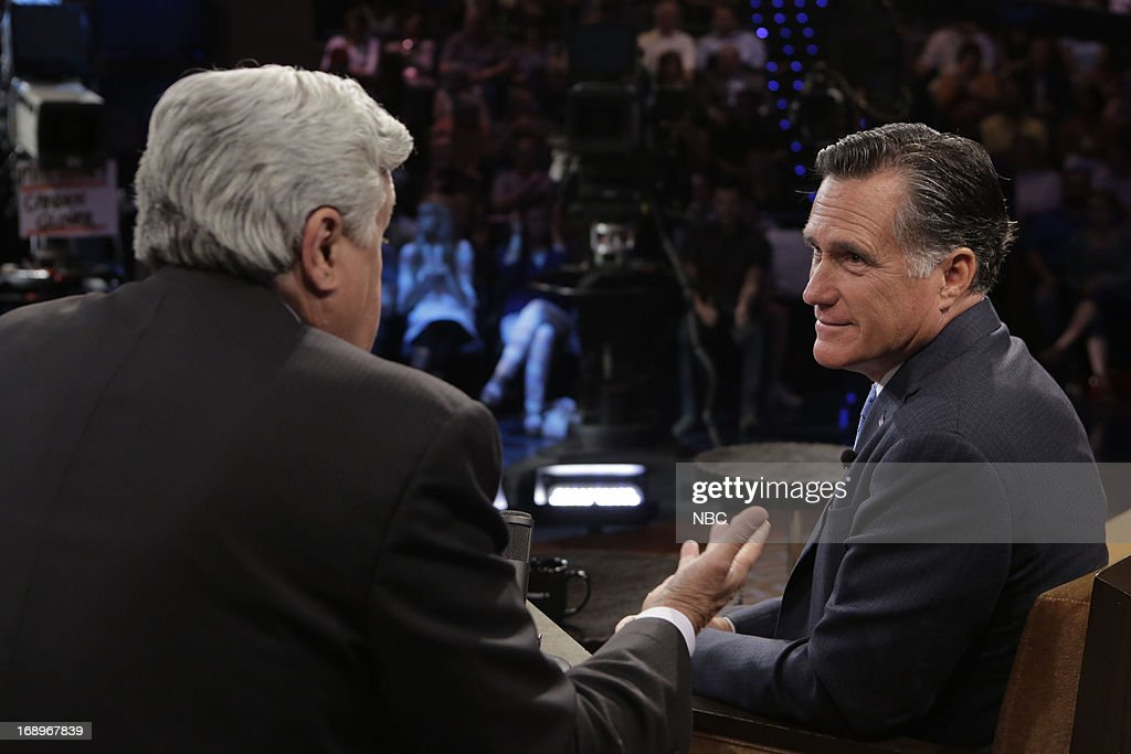 LENO -- (EXCLUSIVE COVERAGE) -- Episode 4464 -- Pictured: (l-r) Host Jay Leno talks with former governor Mitt Romney on May 17, 2013 --
