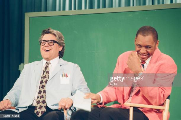 Host Jay Leno and Branford Marsalis during the 'Mr Brain' sketch on April 28 1994